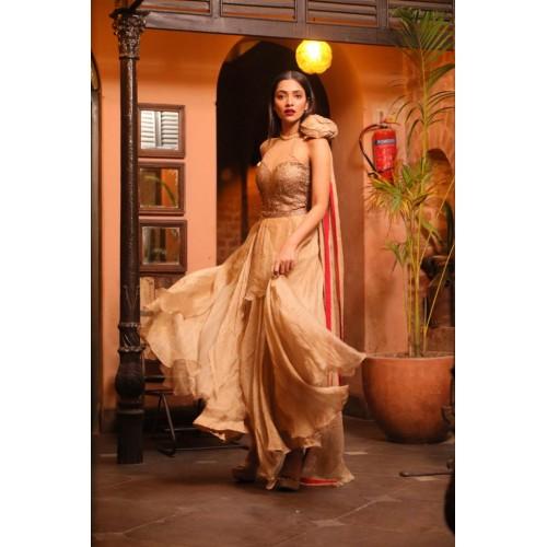 AURIC PURL- Muga Silk Evening Gown with Swarovski Crystals